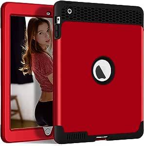 iPad 2/3/4 保护套,iPad 9.7 2011/2012 保护套,Hocase 重型硬塑料外壳+防震硅胶橡胶双层保护壳适用于 iPad 2 nd/3 rd/4 代带 9.7 英寸显示屏iP234-FW-RdBk 红色