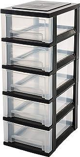 IRIS OHYAMA 爱丽思欧雅玛 欧洲存储 5 黑色 轮子 塔 单元 5 抽屉 收纳盒 塑料办公抽屉 SDC-005 尺寸(厘米) B:29 x 深:39 x 高:82