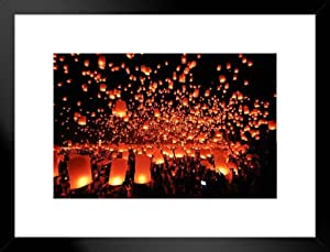 浮动灯笼 节日阴阳 清迈 照片 艺术印刷海报 18x12 照片艺术印刷品 Multi-color / 7185 Framed Matted in Black Wood 26x20 inch 283320