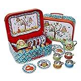 Woodland Animals 儿童锡茶具套装和手提箱(14 件茶具套装儿童)Slimy Toad