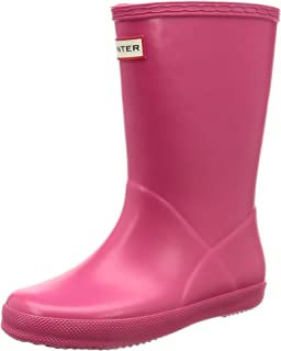 Hunter Kids First 经典雨鞋 亮粉色 2 M US 儿童