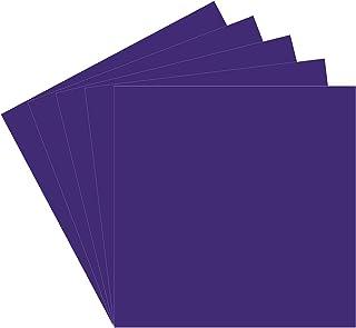 5 张紫色 Oracal 651 乙烯塑料板,30.48 厘米 x 30.48 厘米紫色永久粘合背衬乙烯基板,适用于室内/室外刻字、标记、装饰、汽车贴花、窗户图形、使用曲棍、剪影