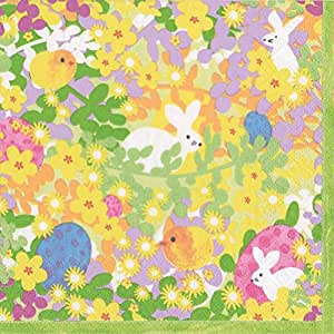 Easter Napkins Lunch Luncheon Paper Napkins Easter Egg Hunt Bunny Meadow 多色 Pack of 20