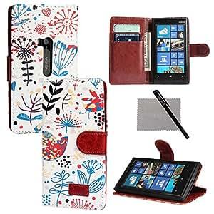 xhorizon 新款花卉叶子风格钱包翻盖磁扣立式皮革手机壳带信用卡插槽夹适用于诺基亚 Lumia 920 带 xhorizon 触控笔和清洁布 ZA5#12