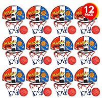 ArtCreativity Magic Shot 篮球游戏,12 套,每套包括 1 个迷你球,1 个背板网和安装胶带,室内篮球套装,适用于家庭、办公室、卧室,男孩和女孩的*佳礼物
