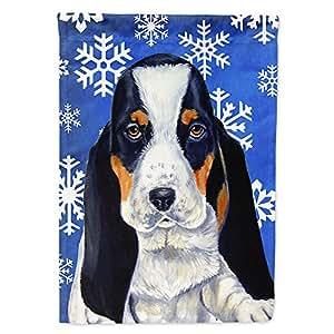 Basset Hound Winter Snowflakes Holiday Flag 多色 小号