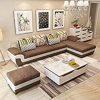 (6色可选 产品质保3年)现代时尚沙发 布艺沙发组合 款式新颖简约现代 布沙发转角沙发 客厅家具客厅沙发组合 大中小户型沙发 全布艺可拆洗 (三人位+贵妃位(左右贵妃可选)+脚踏(长度2.92米-适合中小户型), 深咖啡色)(买就送清洁液+空调被+高级沙发凳2张)