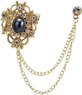 AN KINGPiiN 金色图案带宝石细节正式翻领别针,胸针西装铆钉,衬衫铆钉男士配饰