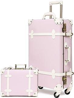 urecity 女式豪华复古行李箱套装2件套可爱复古硬壳手提箱 紫色粉色 2-Piece Set (12/20)