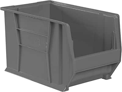 Akro-Mils 30282 20 英寸深 x 12 英寸宽 x 12 英寸高透明超尺寸塑料堆叠存储卡罗宾,2 只装 灰色 30282GREY