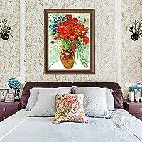 岸朵 梵高名画 花瓶装饰画 欧式油画 客厅卧室版画 餐厅酒店挂画 (古铜色框 A款 单幅, 56 * 45CM)