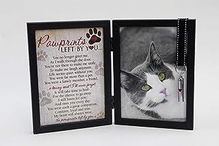 Pawprints 宠物纪念章 12.7 厘米 x 17.78 厘米框架适用于猫和爪印 You Poem 左边