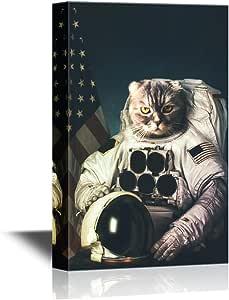 """墙面 26-空间- 帆布墙艺术 Cat Astronaut 16x24"""""""