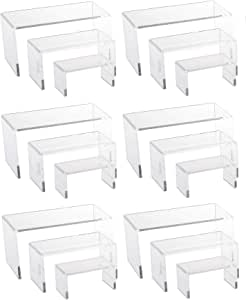 888 Display USA 6 透明亚克力珠宝展示架展示灯具烘焙店 3 Piece Medium Riser Set