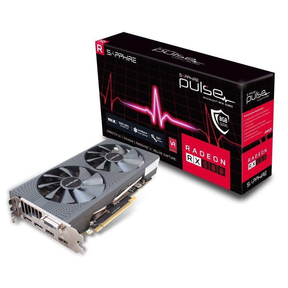 SAPPHIRE Pulse Radeon RX 580 8G GDDR5 Dual HDMI/DVI-D/Dual DP Graphics Card