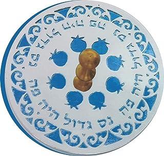 高质量 Judaica 铝制展示梦幻采用激光切割设计 Teal and Silver Round