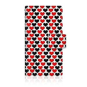 CaseMarket 【手册式】 apple iPhone 5c (iPhone5c) 超薄壳 针脚模型 [ 红黑 心形 图案 细长 日记本式 ] iPhone5c-VCM2S2228
