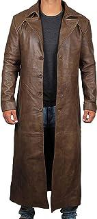 棕色风衣男式 - 做旧黑色真皮长款大衣