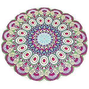 Mandala Roundies Printed Beach Towel Indian Mandala Round Roundie Beach Throw Tapestry Hippy Hippie Gypsy Cotton Tablecloth Shawl Cope Beach Towel, Round Yoga Mat