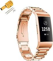 BESTeck 腕带适用于 Fitbit Charge 3 和 3SE,不锈钢金属替换表带手腕带配件适用于 Fitbit Charge 3 和 Charge 3 SE 带手表链接去除工具 玫瑰金