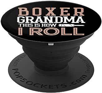 Boxer Grandma Gift Funny Mothers Day Dog Lover How I Roll - PopSockets 手机和平板电脑抓握支架260027  黑色