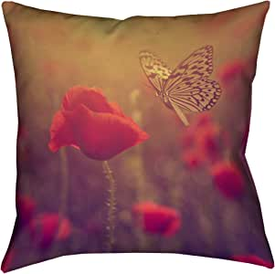 "ArtVerse Justin Duane 蝴蝶和玫瑰 x 35.56 cm Pillow-棉斜纹双面印花,仅带隐藏拉链盖 20"" x 20"" DUA002P2020K"