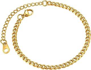 ChainsPro 3/6/9/12 毫米宽中性锁链手链,21 厘米,18K 镀金/316L 不锈钢(发件礼品盒)