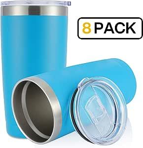 JEAREY 567 毫升不锈钢杯带盖双壁真空保温咖啡旅行杯 湖蓝色 8 pack