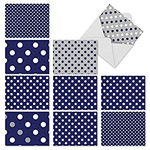 M3067 In The Navy: 10 Assorted Blank All-Occasion Notecards Feature Spots of Blue and White, w/White Envelopes - Fold Over Cards