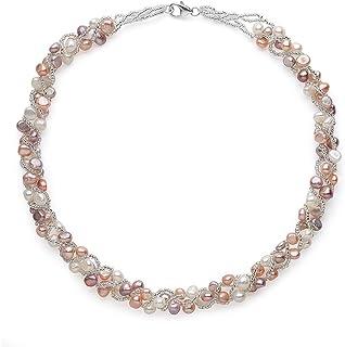 多色淡水养殖编织珍珠项链,纯银扣