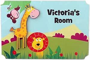Rikki Knight 维多利亚的房间 - 丛林上的 3D 长颈鹿 - 门标牌牌牌,适合儿童和婴儿卧室