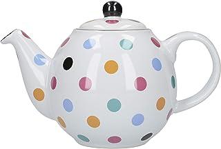 London Pottery 67210 Globe Polka 圆点茶壶 带过滤器 White and Multi-coloured Polka Dots 2-Cup Teapot (500 ml) 67235