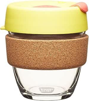 可重复使用的咖啡杯。 钢化玻璃杯和天然软木带。 橘色(Saffron) 8 oz Small BCSAF08