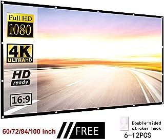 KOET 投影屏幕,可折叠双面4K家庭影院投影屏幕带挂孔,便携式防折痕电影投影屏幕户外露营电影户外影院