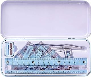 Queena 8 件套数学几何套装,带收纳盒,包括指南针尺铅笔橡皮擦角器 均码 蓝色