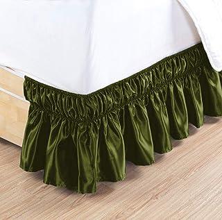 包裹式床裙三面面料弹力床罩缎面女王 38.1cm 深苔藓 SK Homelinen
