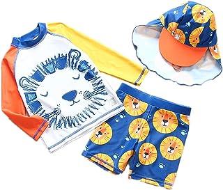 男婴两件套*泳衣,儿童日光浴套装,带帽子,UPF 50+ 2-9 岁