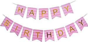 Keira Prince Happy Birthday 横幅,粉色条纹和金色派对装饰,时尚,*尾束束缚旗帜花环 Pink Striped & Gold Party 10305647