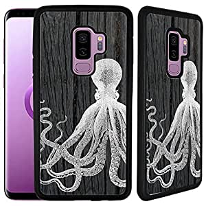 Galaxy S9 Plus 橡胶 TPU 手机壳 Black - Octopus On Dark Wood