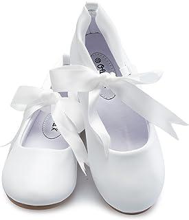 OLIVIA K 女童可爱芭蕾舞玛丽珍平底鞋丝带领带鞋