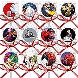 DJz Dealz Big Hero 6 Lollipops 迪士尼电影派对礼品用品Baymax 装饰棒糖红色丝带蝴蝶结派对礼物 - 12 件,派对