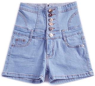 女式复古高腰牛仔短裤,女孩休闲纽扣可调节牛仔短裤,女士夏季裤,加大码