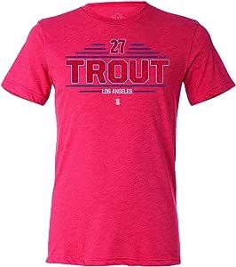 108 针 MiLB LA Trout 蝙蝠架 T 恤 Minor League 棒球 男士复古三混纺 T 恤(L 码)红色
