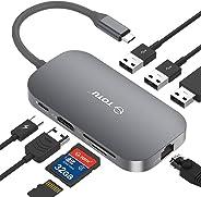 USB C 集线器,TOTU 8 合 1 型以太网端口C 集线器, 4K USB C 转 HDMI,2 个 USB 3.0 端口,1 个 USB 2.0 端口,SD/TF 读卡器,USB-C 电源传输,适用于 Mac Pro 和其他 C 型笔记本电脑