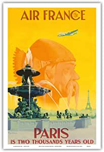 """Paris Is Two Thousand Years Old - France - Parisii Tribesman and Fountains of Concorde - Vincent Guerra 复古航空旅行海报 1949 - 艺术大师版画 12"""" x 18"""" PRTB3321"""