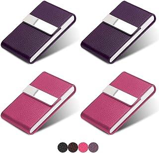 HOSTK 4 件装名片夹,专业 PU 皮革名片夹,不锈钢超薄名片夹,带有磁扣的卡包,公司办公室(2 紫色+2 玫瑰红色)