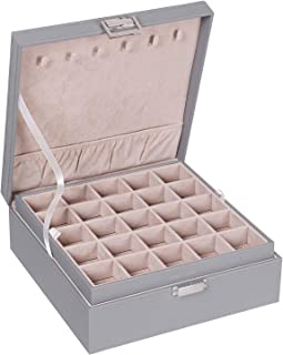 BEWISHOME 耳环收纳盒适用于袖扣、戒指、吊坠、链条 - 50 个槽套、6 个项链挂钩、2 个可堆叠托盘 - 女士女孩耳环首饰盒,灰色 SSH11H