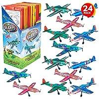 ArtCreativity 儿童*泡沫滑翔机,散装 24 件套,轻质飞机,各种设计,独立包装的飞行飞机,有趣的生日派对礼品,男孩和女孩的礼品袋填充物