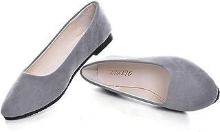女式经典尖头芭蕾平底鞋舒适纯色平底鞋工作一脚蹬软皮鞋