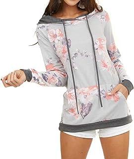 Dressmine 女式花卉迷彩连帽衫运动衫拼色长袖衬衫抽绳连帽套头上衣